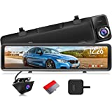 """PORMIDO 2.5K Mirror Dash Cam Backup Camera 12"""" Large Full Touch Screen Front and Rear View Camera HD Waterproof Back up Car C"""