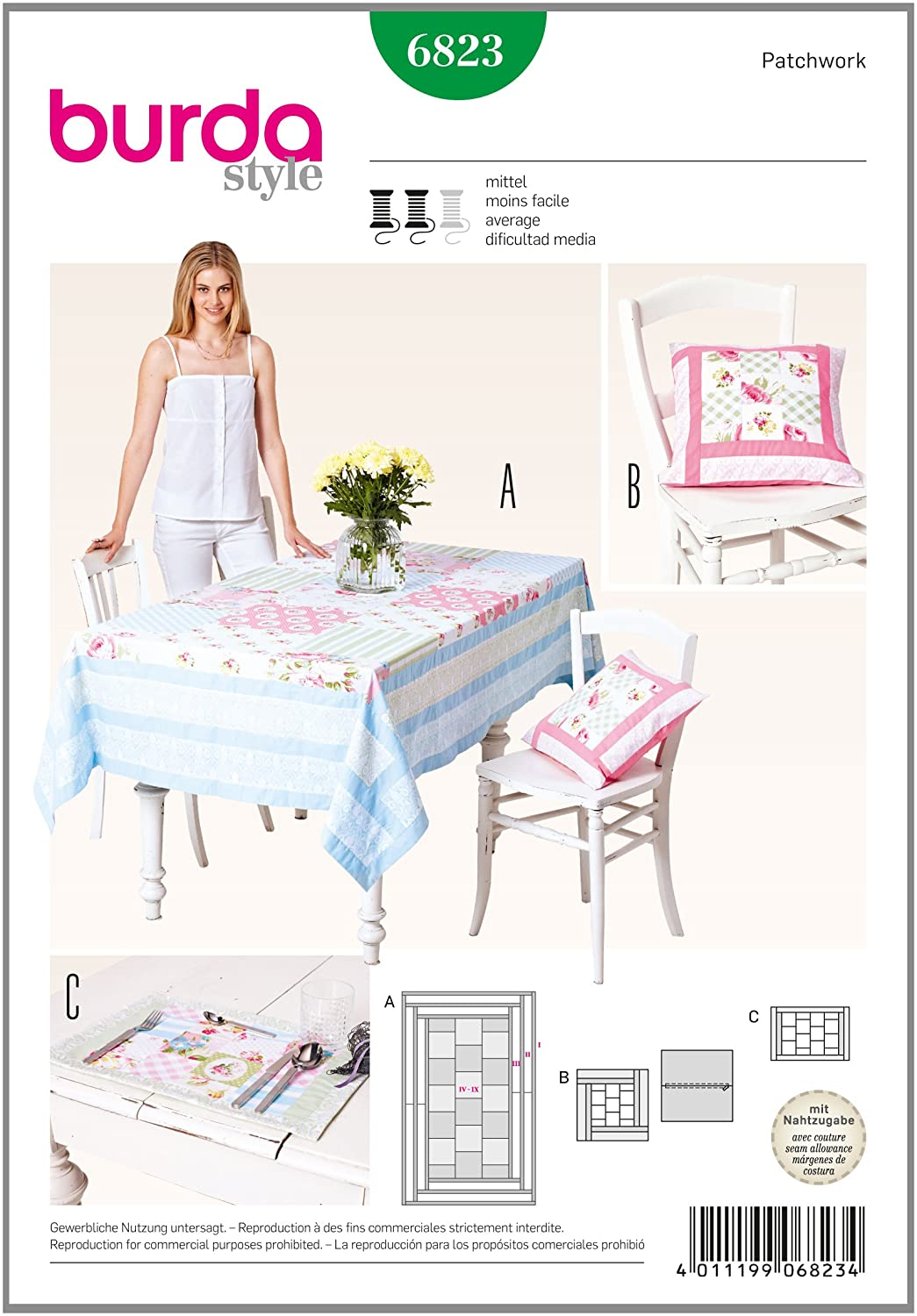 Burda artículos para el hogar Patrones de Costura para Mantel 6823 ...