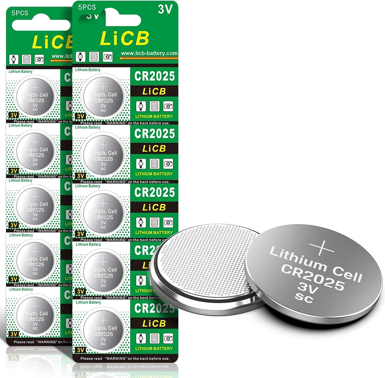 Licb 10 Stück Cr2025 3v Lithium Knopfzellen Cr 2025 Elektronik