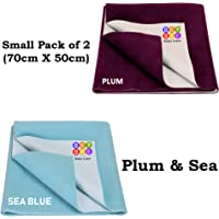 Bey Bee Water Resistant Bed Protector Baby Dry Sheet with Ultra absorbance (Plum/Sea Blue)