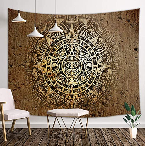 KOTOM Mandala Bohemian Tapestry Wall Hanging, Native Aztec Calendar Mayan Luck Sign in Vintage Wall Tapestry Art for Home Decorations Dorm Decor Living Room Bedroom Bedspread 80 X60 80X60in