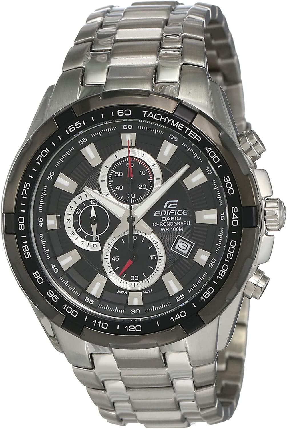 Men s Stainless Steel Edifice Black Dial Tachymeter