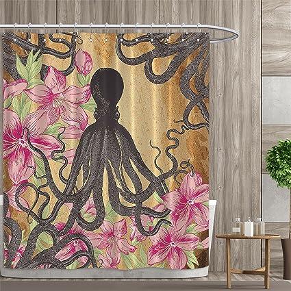 Davishouse Kraken Octopus Roses Leaves Tentacles Octopi Vintage Antiqued Textiles Decor Print Shower Curtain Collection By