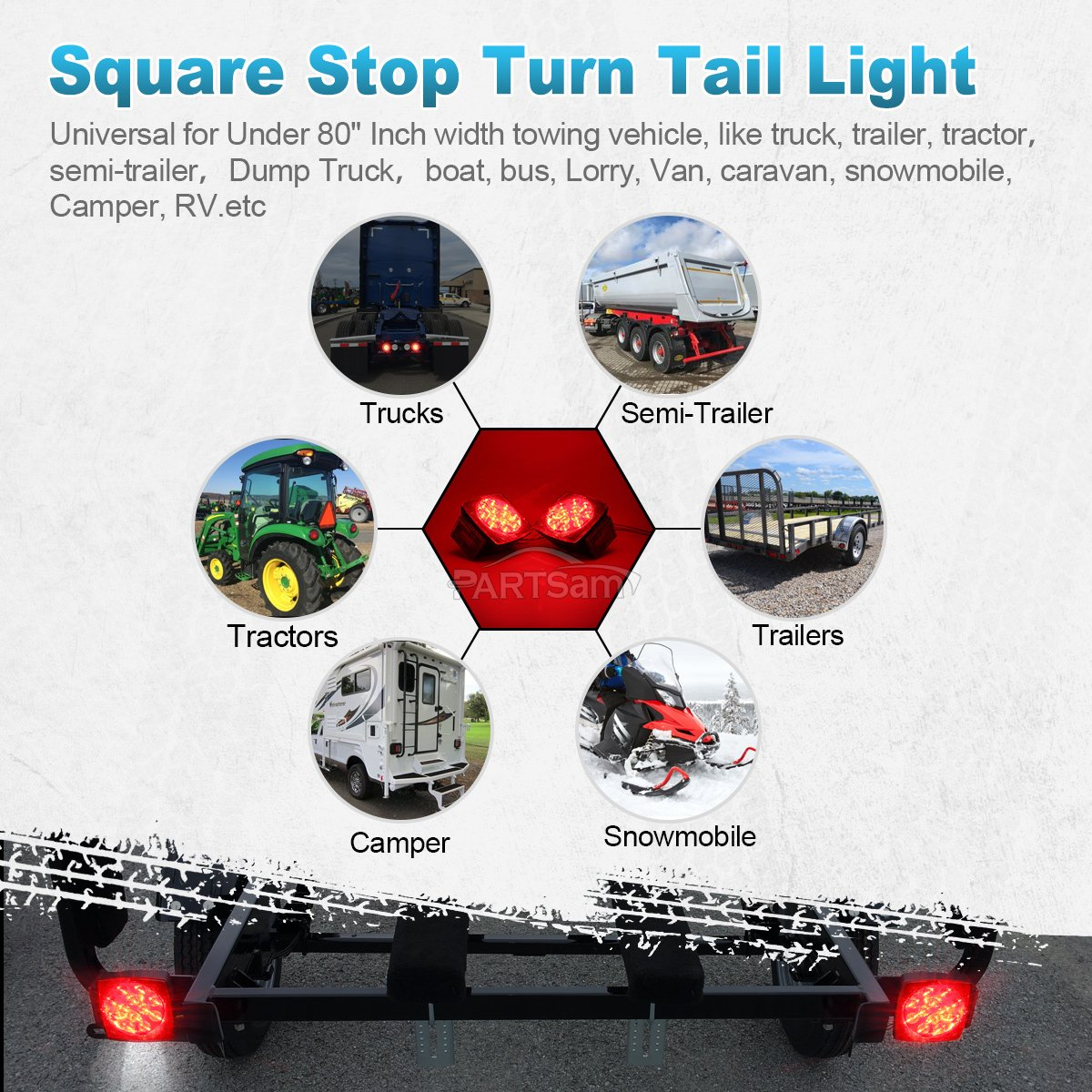 Partsam Pairs Of Submersible Square Red White Led Stop Turn Tail Trailer Wiring Harness Bracket License Brake Lamps Light Kit 12v For