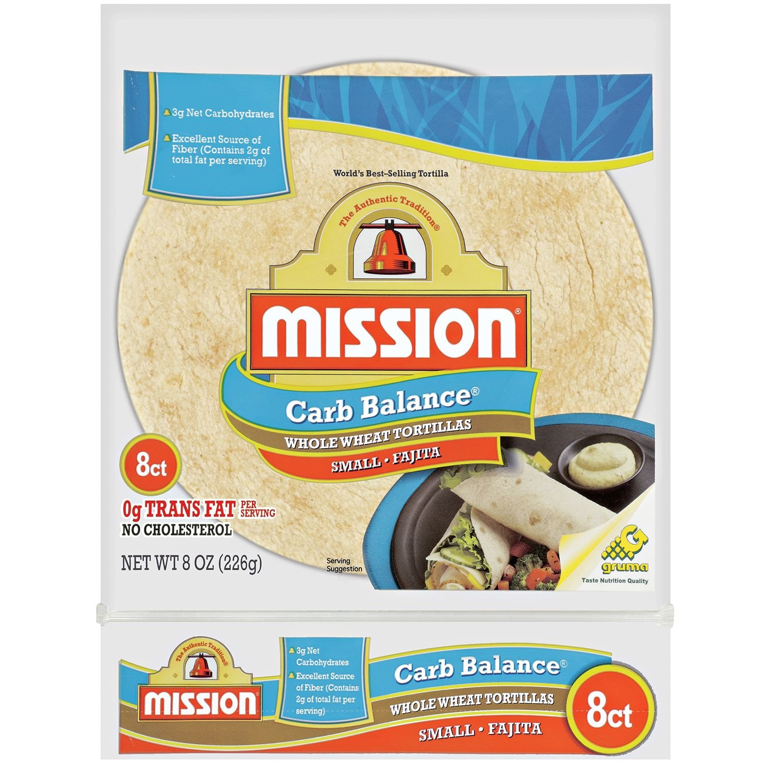 Mission, Carb Balance, Fajita Tortillas, 8 Count, 8oz Bag (Pack of 4) (Whole Wheat)