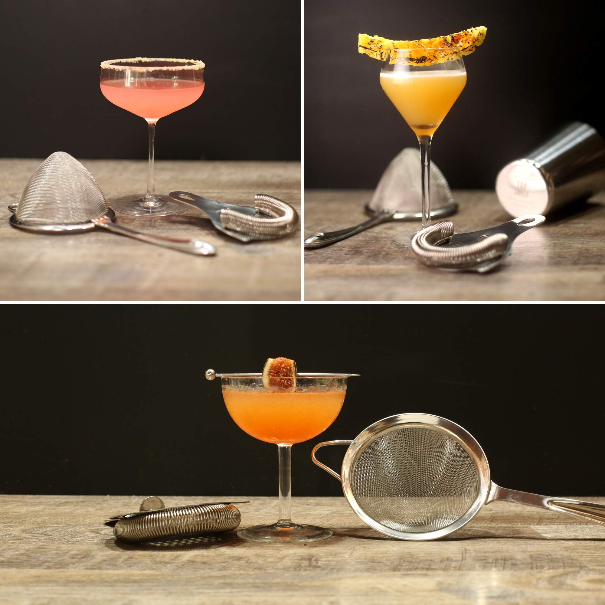 Cocktail Strainer Set: Stainless Steel Hawthorne Strainer, Julep Strainer and Conical Fine-Mesh Strainer by Top Shelf Bar Supply by Top Shelf Bar Supply (Image #7)