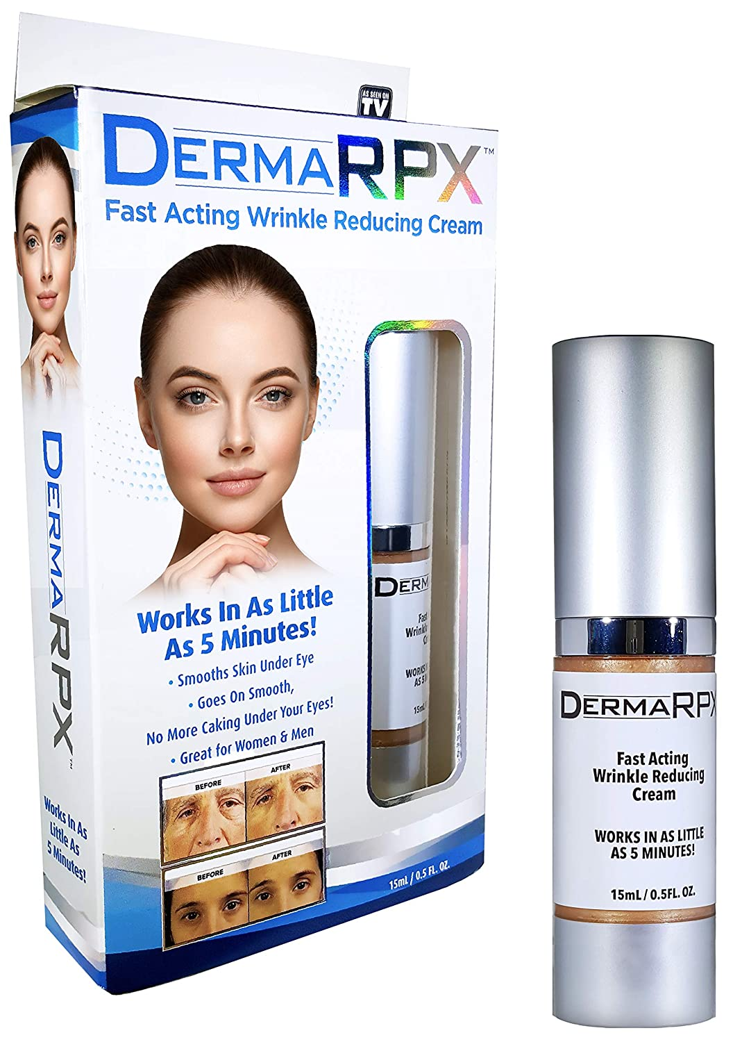 DERMA RPX with Hyaluronic Acid, 5-Minute Wrinkle and Fine Lines remover, Eye Bags Reducer Anti-aging Cream As Seen On TV