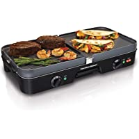 Hamilton Beach 3-in-1 Electric Indoor Grill + Griddle, 8-Serving, Reversible Nonstick Plates, 2 Cooking Zones with Adjustable Temperature (38546), Black