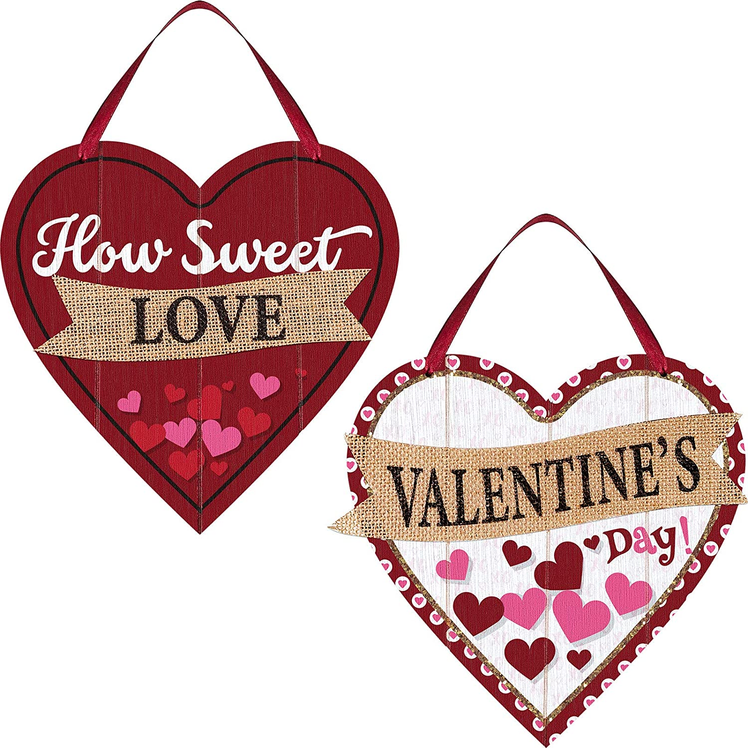 Patelai 2 Pieces Valentine's Day Wooden Sign Decoration Heart Shape Wall Plaque Valentine's Heart Wall Sign Decoration Red Heart Hanging Sign for Table Window Door Wall Decor