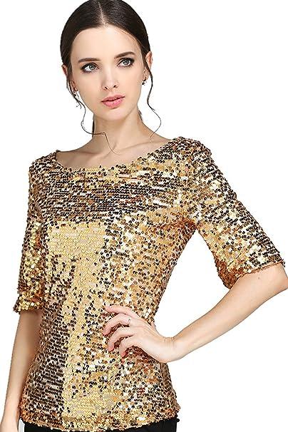 Vemubapis Mujeres De Cuello De Barco Lentejuelas Camiseta Oficina Blusa Color Dorado Brillante: Amazon.es: Ropa y accesorios