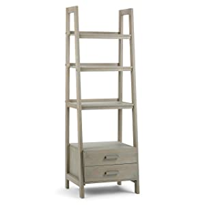 Simpli Home 3AXCSAW-06-GR Sawhorse Solid Wood 72 inch x 24 inch Modern Industrial Ladder Shelf with Storage in Distressed Grey