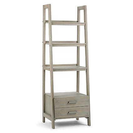 Simpli Home Sawhorse Solid Wood Ladder Shelf Bookcase With Storage Distressed Grey