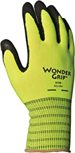 Wonder Grip WG310HVXL High-Visibility Extra Seamless Knit Work Gloves Double-Coated Black Nitrile Palm Excellent Wet or Dry Grip, X-Large, X-Large