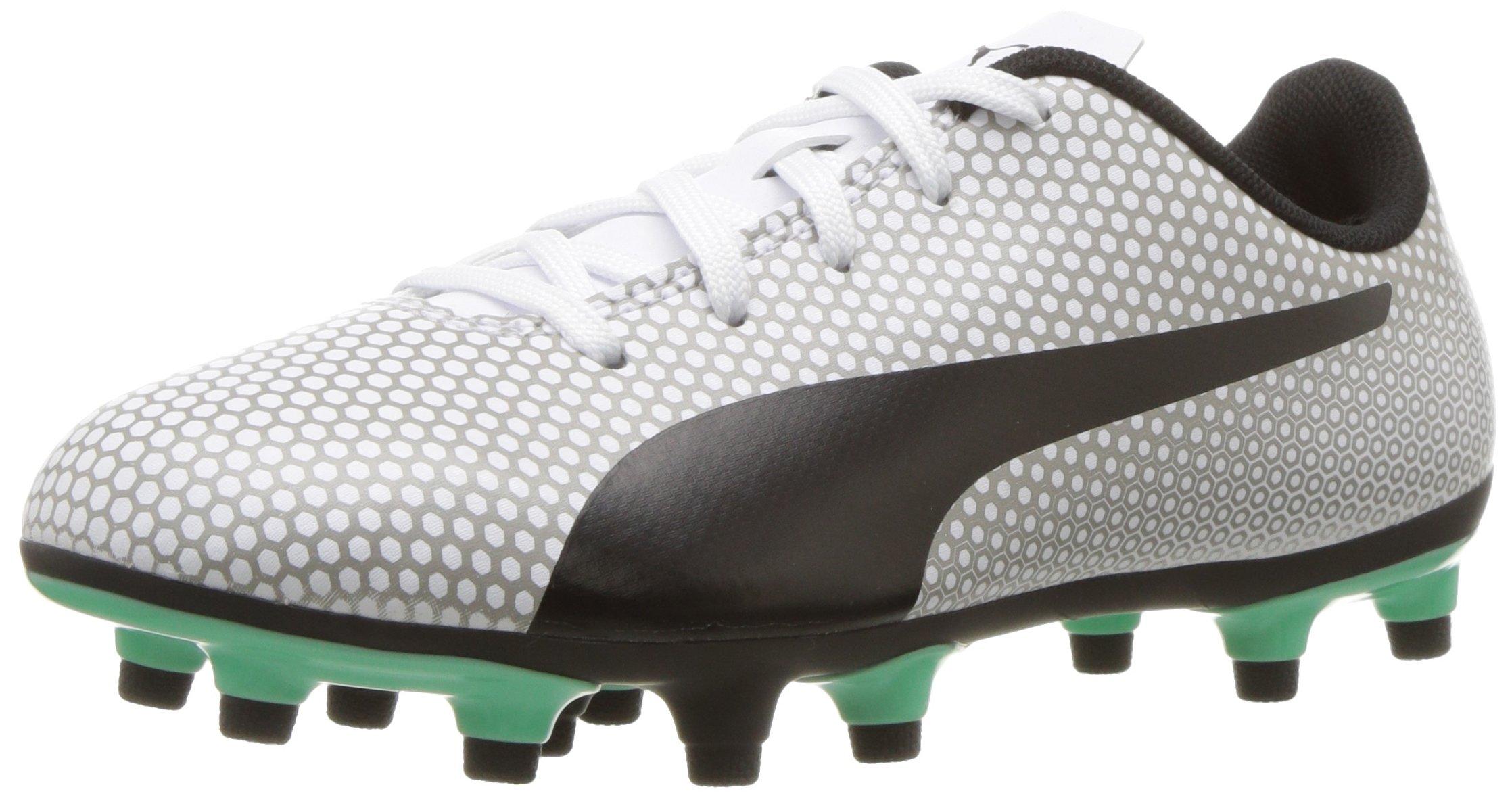 PUMA Unisex Spirit FG Jr Soccer Shoe, White Black Silver, 6.5 M US Big Kid