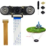 Jun_Electronic For Raspberry Pi 3 Camera Infrared Night vision Fisheye Wide Angle Camera 160 Degree Adjustable-Focus Module 5MP 1080P with Ribbon Cable and Stand for Raspberry Pi 3 B+