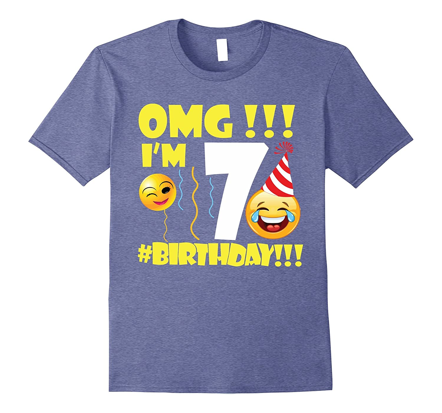 Emoji Birthday Shirt For 7 Year Old Party Girl Boy CL