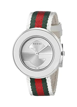 656ff986576 Buy Gucci Women s YA129411 U-Play Medium Stainless Steel Watch with  Tricolored Nylon Strap Online at Low Prices in India - Amazon.in