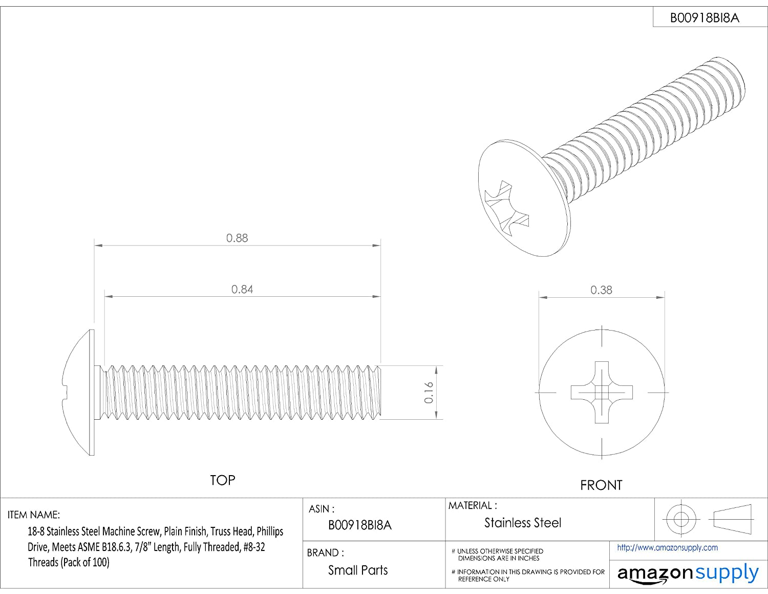 Fully Threaded 1//4 Length Pack of 100 18-8 Stainless Steel Machine Screw Plain Finish #8-32 UNC Threads Meets ASME B18.6.3 Truss Head 1//4 Length Small Parts 774048 Phillips Drive