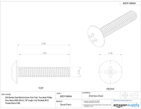 18-8 Stainless Steel Machine Screw Pack of 100 Meets ASME B18.6.3 #10-24 UNC Threads 1//2 Length Small Parts 774102 1//2 Length Plain Finish Fully Threaded Phillips Drive Truss Head