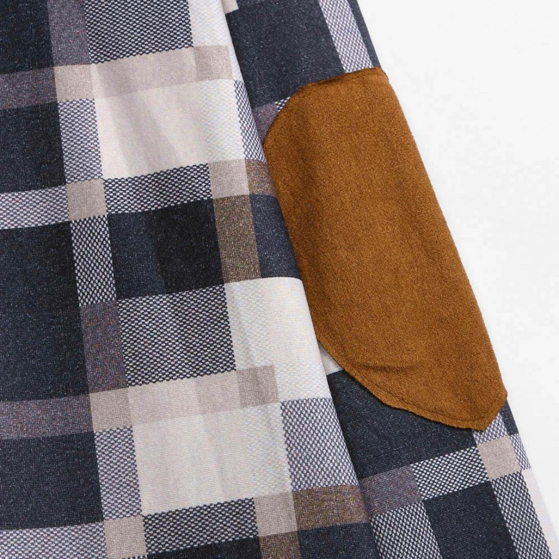 Pervobs Blouses, Big Promotion! Women Ladies Casual Plaid Long Sleeve Loose Shirts Cover Ups Cardigan Jacket Coat Outwear (XL, Khaki) by Pervobs Women Long-Sleeve Shirts (Image #6)