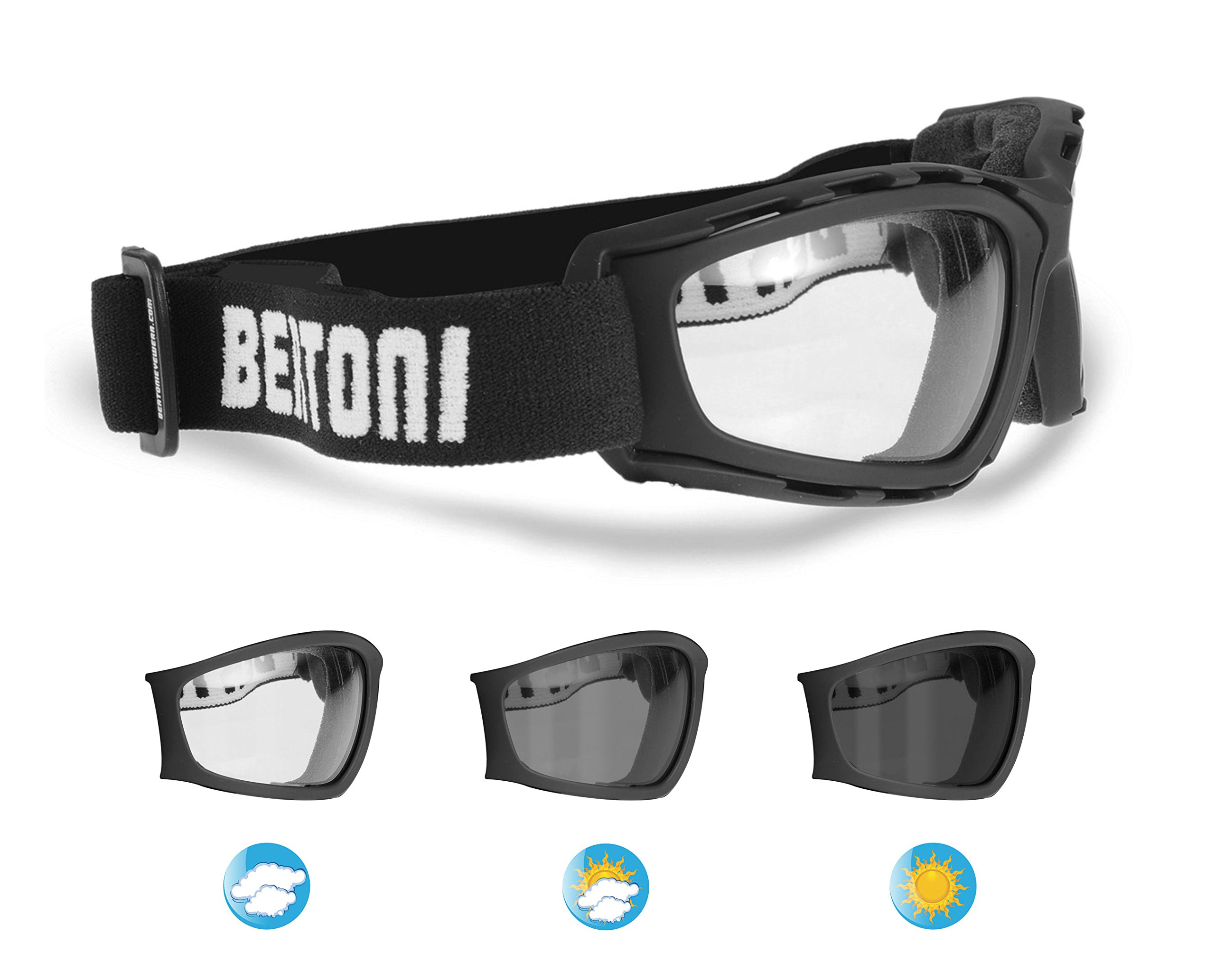 Bertoni Photochromic Motorcycle Goggles - Extreme Sports Sunglasses - Powersports Goggles - Antifog Lens - F120A by Italy Wraparound Windproof Padded Glasses