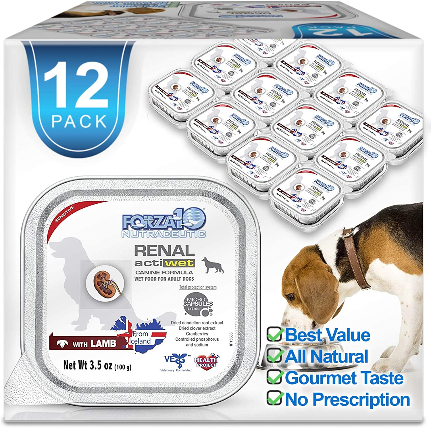 Forza10 Wet Dog Food Kidney RENAL ACTIWET with Lamb, 3.5oz, Adult Dog Food Wet, Dog Renal Support Canned Dog Food, 12 Pack Case
