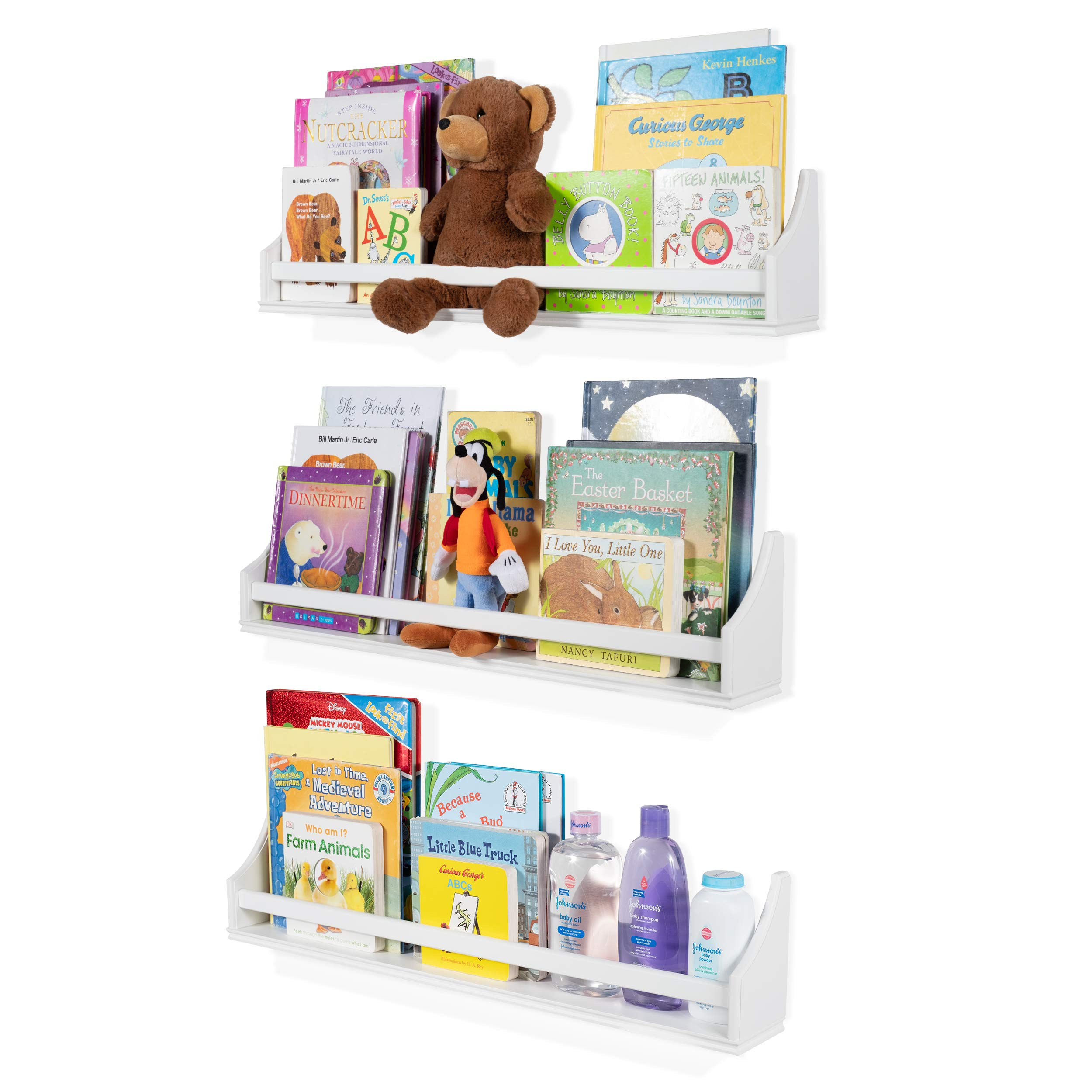 Nursery Décor Wall Shelves - 3 Shelf Set - White Long Crown Molding Floating Bookshelves for Baby & Kids Room, Book Organizer Storage Ledge, Display Holder for Toys, CDs, Baby Monitor by Brightmaison