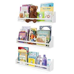 Nursery Décor Wall Shelves – 3 Shelf Set – White Long Crown Molding Floating Bookshelves for Baby & Kids Room, Book Organizer Storage Ledge, Display Holder for Toys, CDs, Baby Monitor