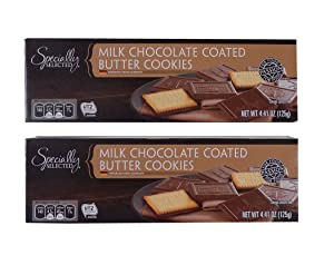 Milk Chocolate Covered Butter Cookies - 4.4-Ounce Boxes (Pack of 2)