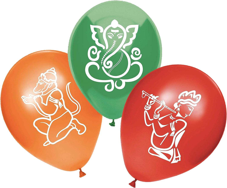 30 PC Indian Wedding Decorations | Hindu Balloons for Diwali, Holi, Ugadi, Navratri, and Mehndi Parties | Created/Sold by AMERIBA, a USA company - (Krishna, Hanuman, Ganesh)