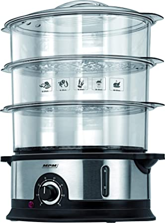 MPM Mpa-01M Cocina Al Vapor, 800 W, 4 Litros, 0 Decibeles