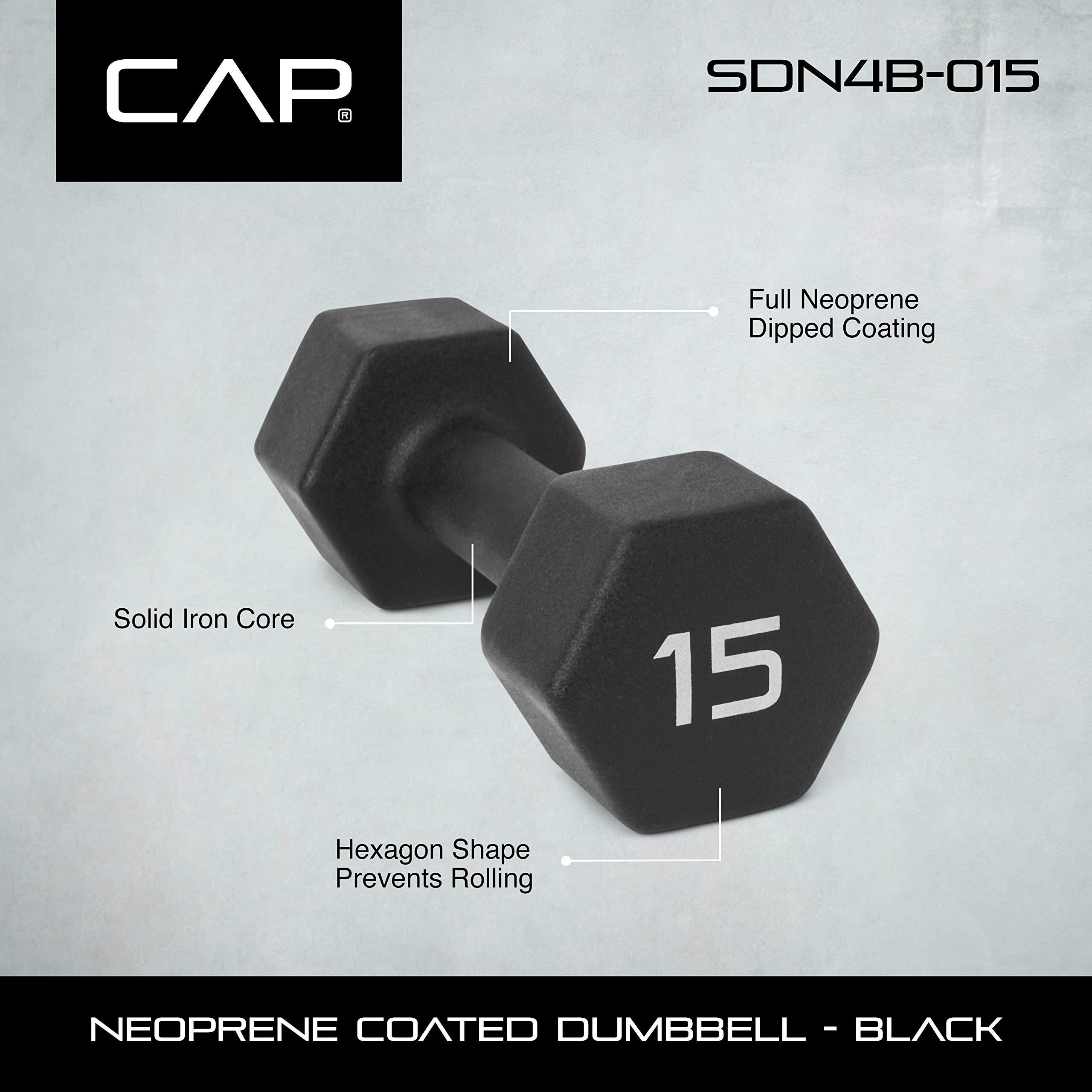 CAP Barbell Neoprene Coated Single Dumbbell, Black, 15-Pound by CAP Barbell (Image #2)