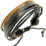 Leather & cord bracelet / leather wristband / surf bracelet -02
