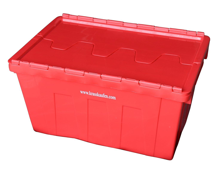 5 Stü ck Stapelbox, Lagerbox mit Deckel 50L, 600mm x 400mm H. 350mm Stapelbehä lter Eurobehä lter Transportboxen Stapelkä sten Mehrwegbehä lter krasskaufen