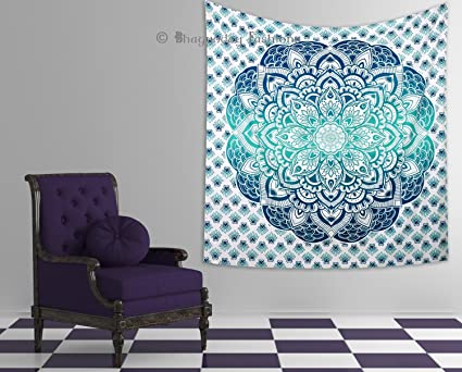 Amazon.com: Indian Ombre Mandala Tapestry Wall Hanging, Hippie Gypsy ...