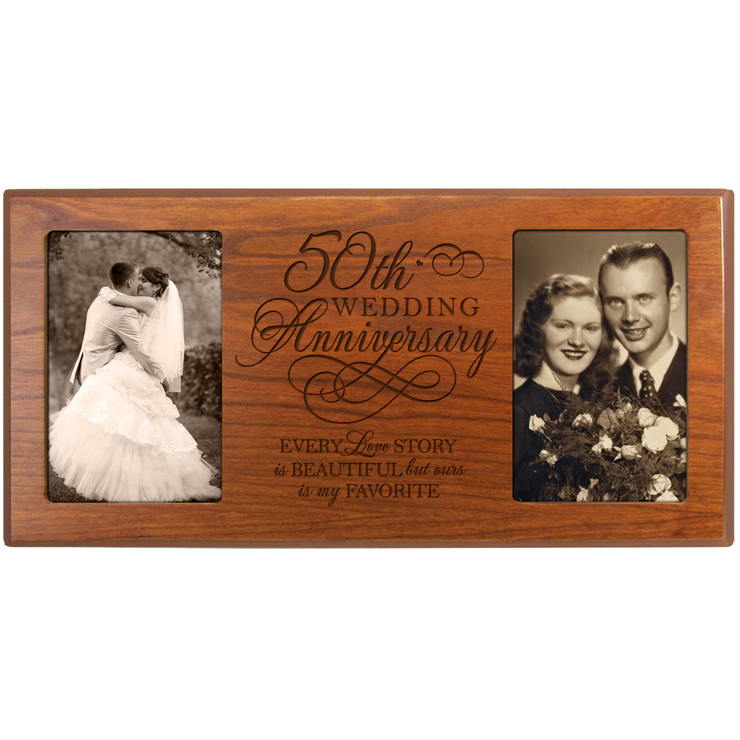 LifeSong Milestones 50th Wedding Anniversary Picture Frame Every Love Story is Beautiful but Ours is My Favorite Holds 2-4x6 Photos (Cherry)