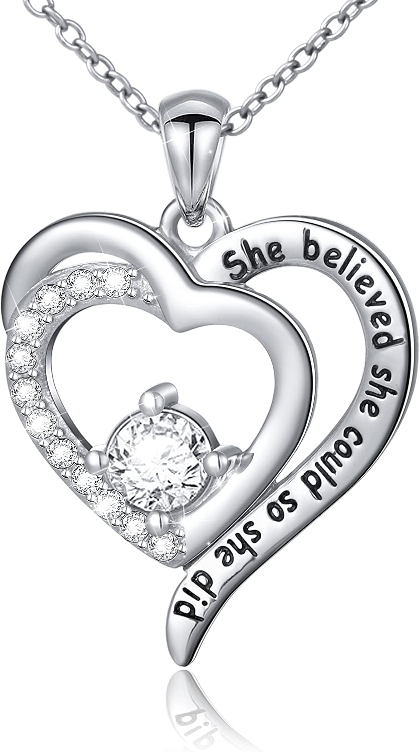 """Sterling Silver Engraved Inspirational Necklace Bracelet""""She Believed She Could So She Did"""" Gift for Her, Women, Friendship"""