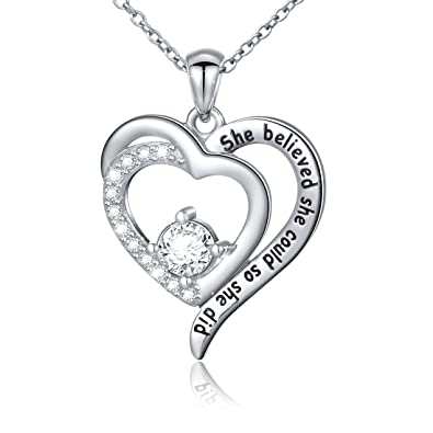 7cf0bfd12c066 SILVER MOUNTAIN Inspirational Jewelry Sterling Silver She Believed She  Could So She Did Love Heart Necklace
