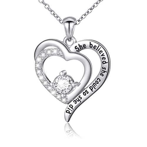 Sterling Silver Engraved Inspirational Necklace Bracelet She Believed She Could So She Did Gift for Her, Women, Friendship