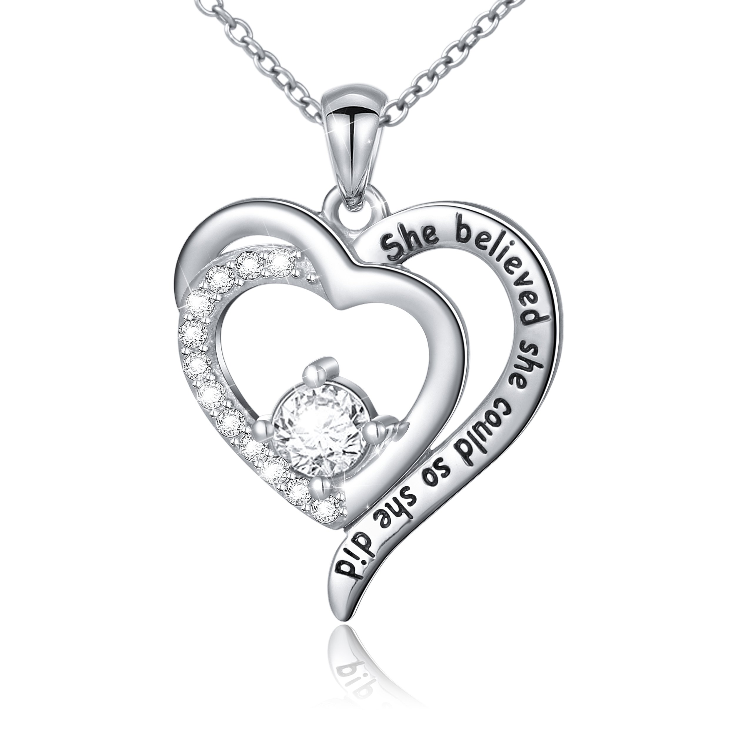SILVER MOUNTAIN Inspirational Jewelry Sterling Silver She Believed She Could So She Did Love Heart Necklace,18'' (Style 2)