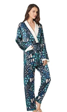 LilySilk Silk Wrap Pajama Set for Women and Ladies Plant Printed Floral  Pattern 100 Real Silk 7f1efa189