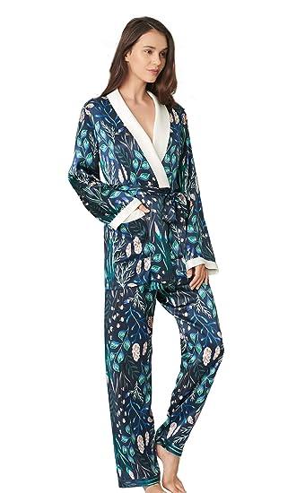 6bce358fd8 LILYSILK Ladies 100 Silk Plant Printed Wrap Pyjamas Set 2Pcs 19 Momme Pure  Mulberry Silk Pajamas Set  Amazon.co.uk  Clothing