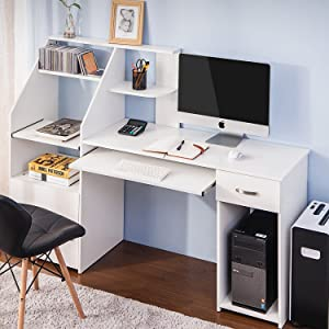 Merax Multi-Functions Computer Desk with Cabinet and and Keyboard Tray Office Home Furniture Writing Desk, White