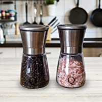 Qualitet Refillable Spice Grinders Salt and Pepper Set Mills Complete with Scoop and Brush for Cleaning with Easy Ceramic Adjustable Smooth Coarseness Durable Glass and Stainless Steel