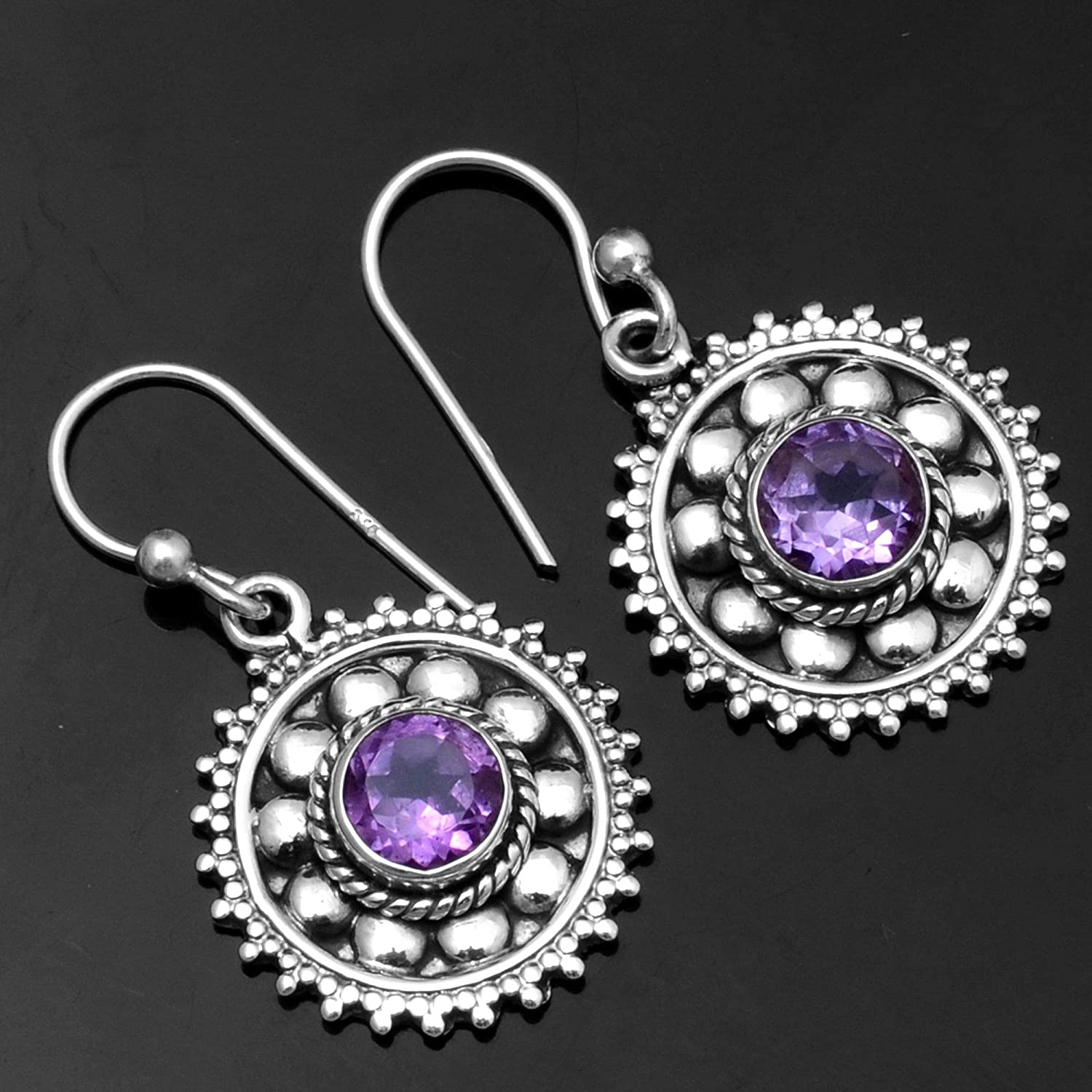 Silver Palace Sterling Silver Amethyst Earrings for Womens and Girls