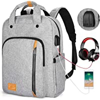 Travel Laptop Backpack for Women & Men, Water Resistant Padded Computer Backpacks 15.6 Inch Laptops, Large Capacity Daypack Bookbag Rucksack for College High School Student Work Business Bag- Grey