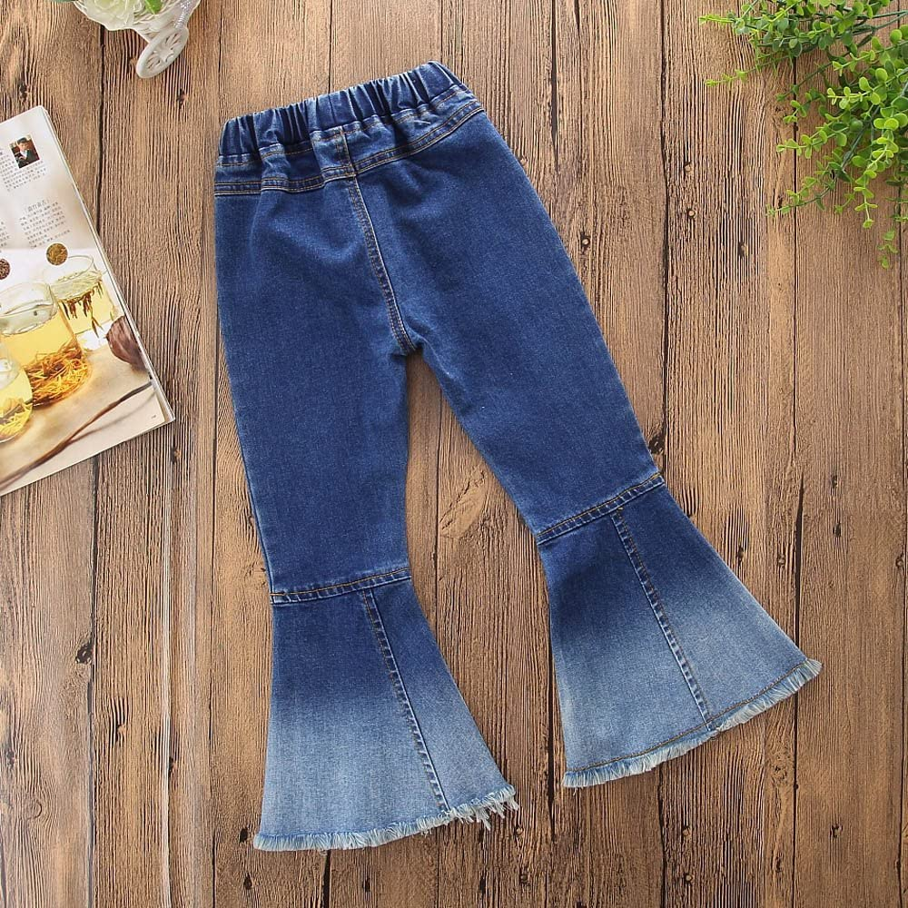 Samgami Baby Toddler Girls Pants Kids Elastic Waist Pants Flared Trousers Jeans Baby Clothes