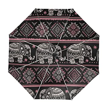 ALAZA Tribal Africana étnica Viaje Elefante Paraguas de Apertura automática Cerca de Protección a Prueba de
