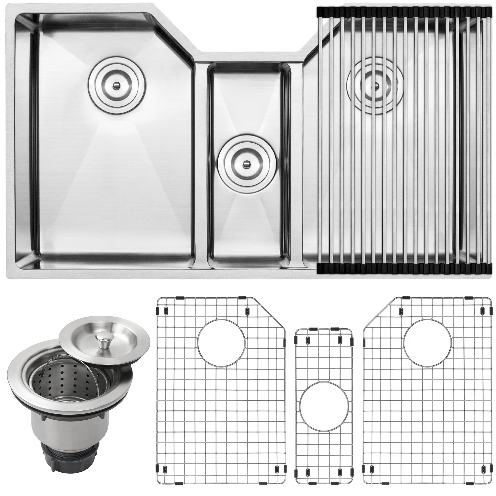 35-1/2'' Ticor TR1500 Bradford Series 16-Gauge Stainless Steel Undermount Triple Bowl Low-Divide Tight Radius Kitchen Sink with Accessories