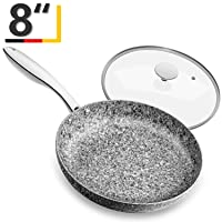 MICHELANGELO 8 Inch Frying Pan with Lid, Ultra Nonstick Small Frying Pan with Stone Interior, Granite Frying Pan 8 Inch Nonstick, Stone Skillet with Lid, Small Nonstick Frying Pans with Lid - 8 Inch